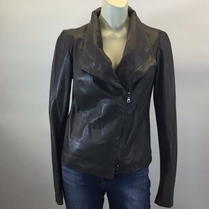 Vince Taupe/ Grey Leather Jacket with fabric sides